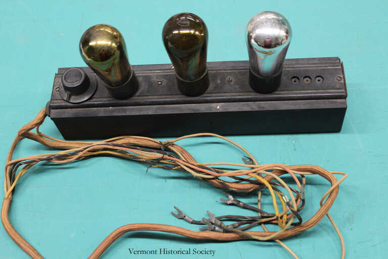 These vacuum tubes are part of a radio built by Winn Taplin Sr. in the 1920s.