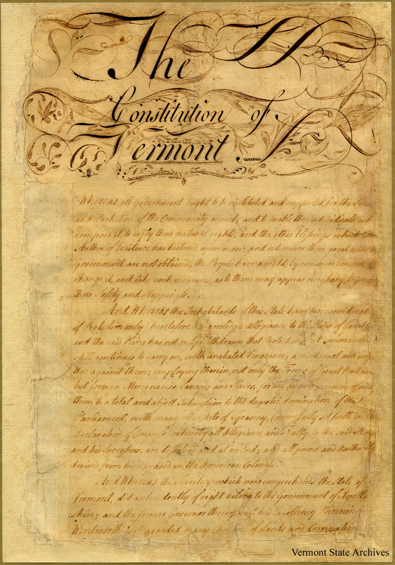 Can you read the fancy script that says 'The Constitution of Vermont'?