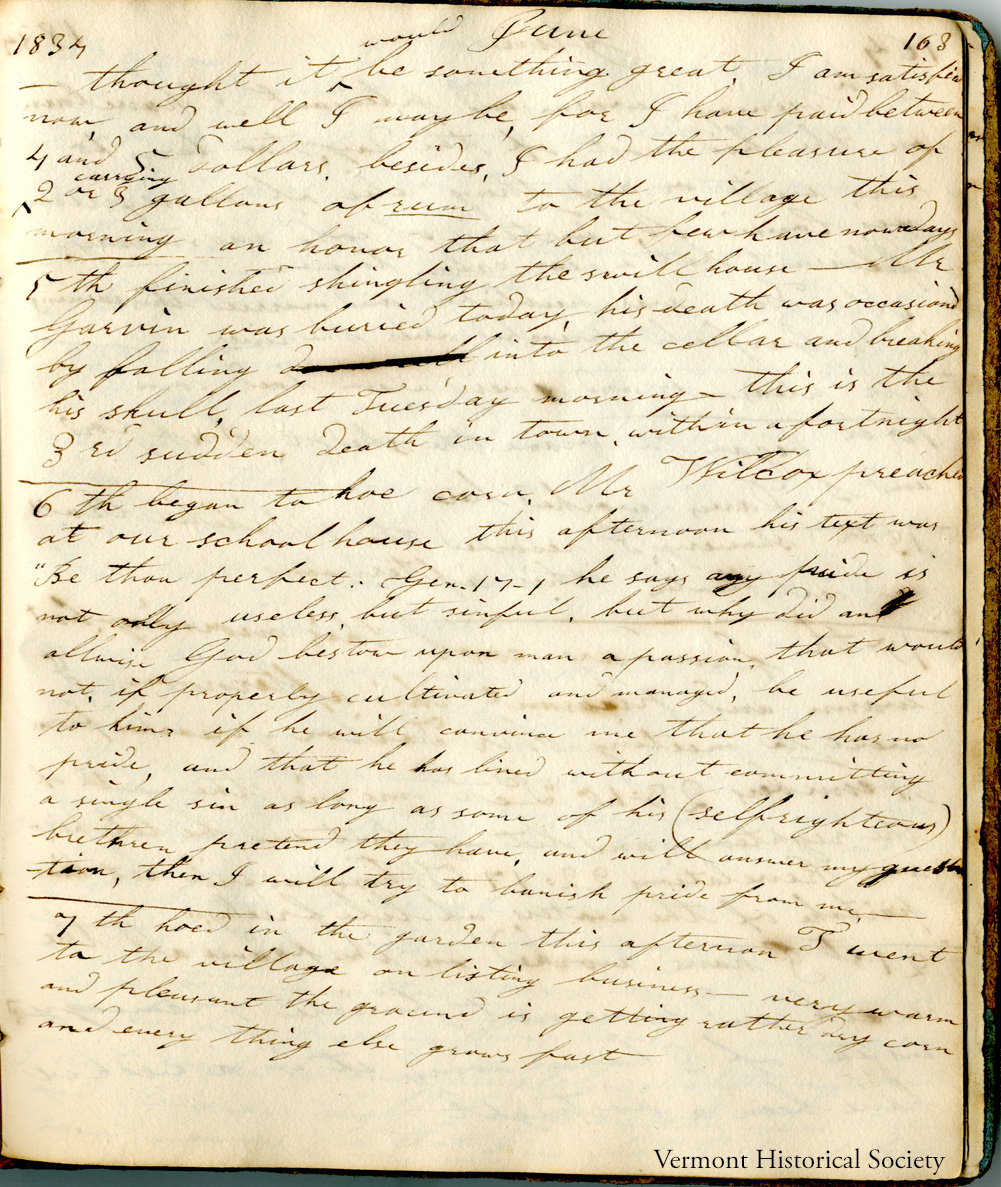 A page from the 1834 diary of Erastus Williams.