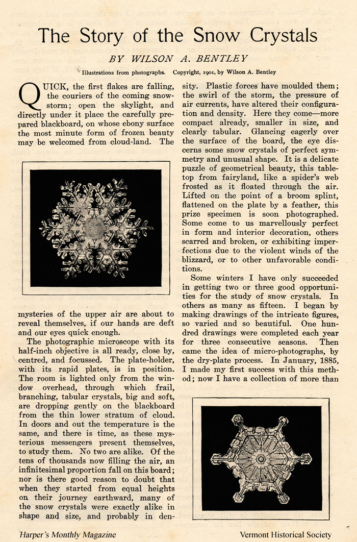 Historic magazine article with two pictures of snowflakes.