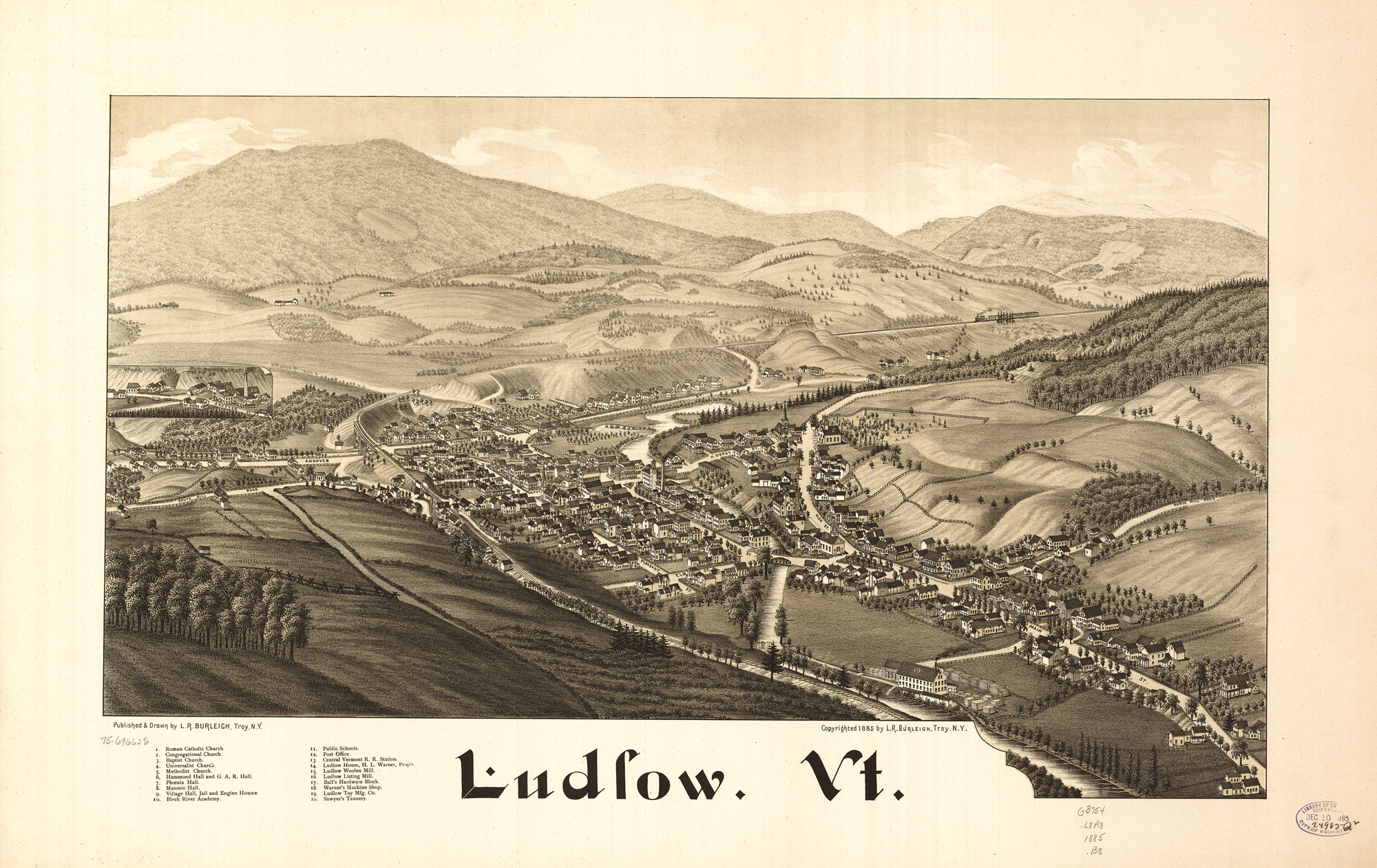 1885 Panoramic Map of Ludlow, Vermont