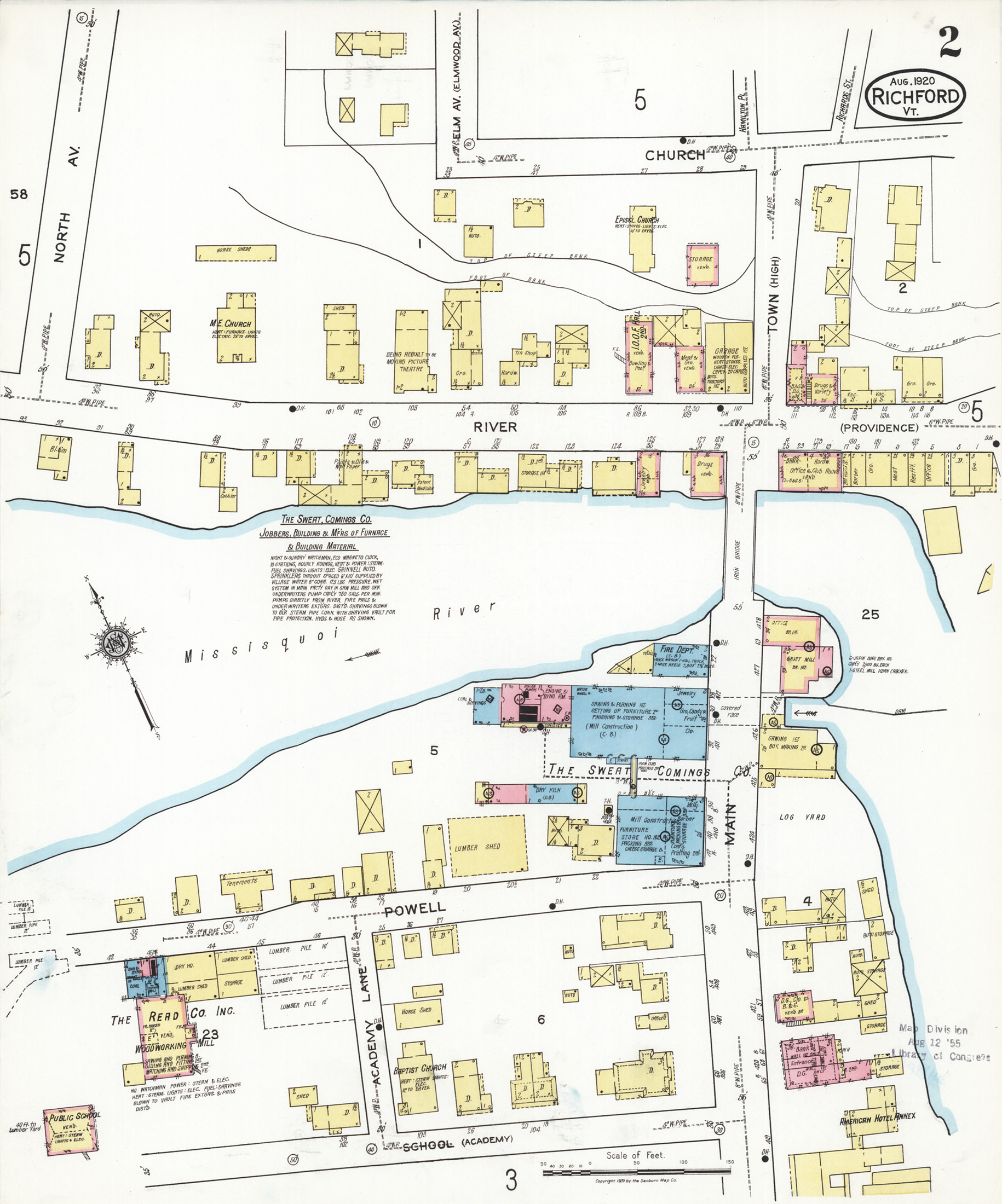 1920 Sanborn Map of Richford, Vermont