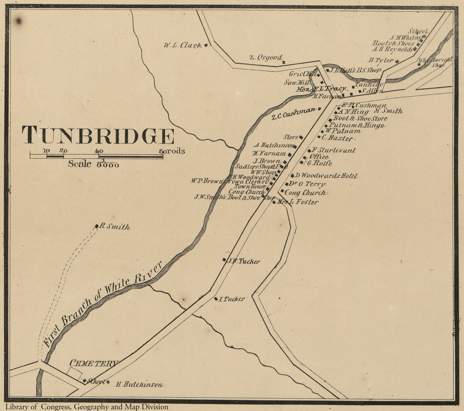 Detail Map of Tunbridge Village on 1858 Orange County Map from Library of Congress