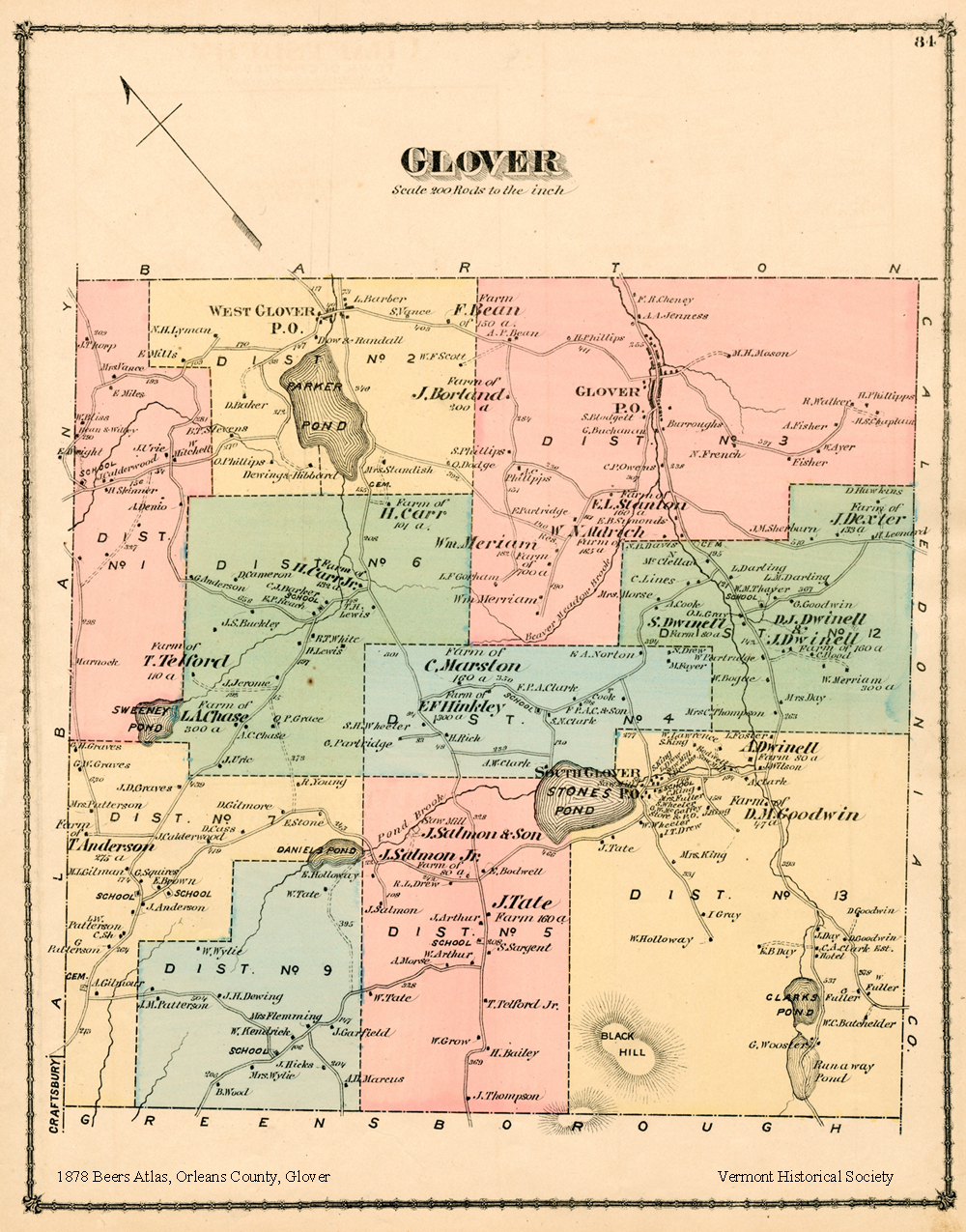 1878 Map of Glover, Vermont