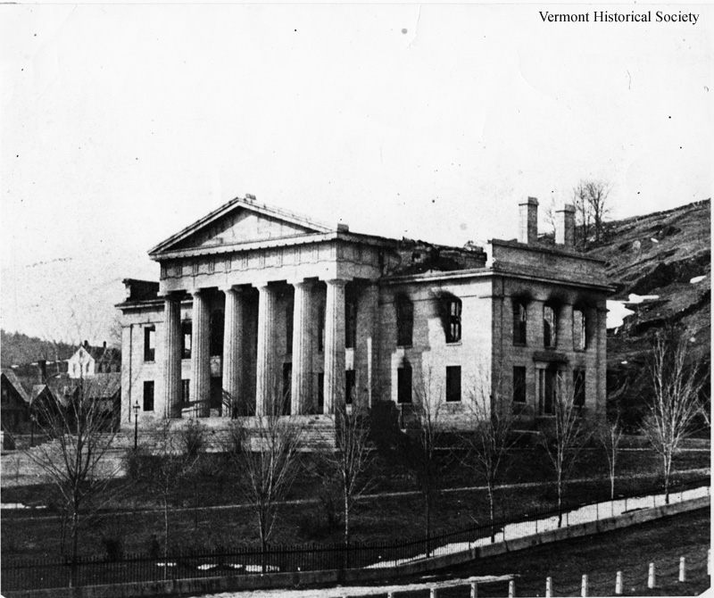 The second Vermont State House after the fire in 1857.