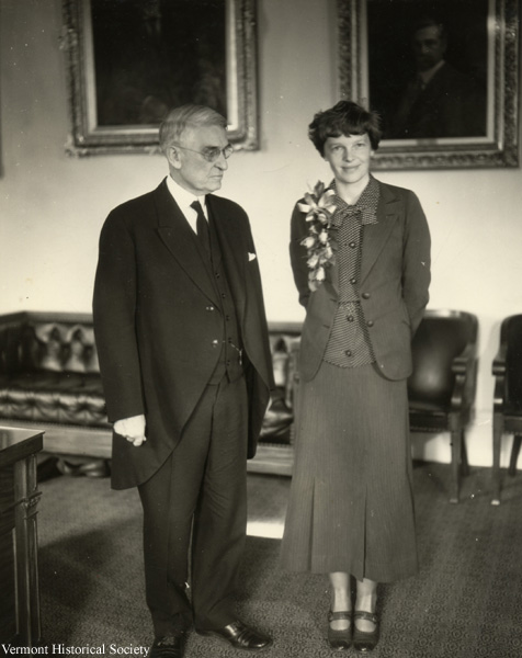 Amelia Earhart with Governor Charles Smith at the Vermont Capitol in 1935.