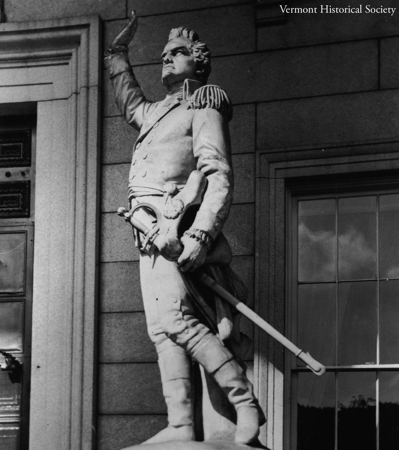 This statue of Ethan Allen stands in front of the Vermont State House.