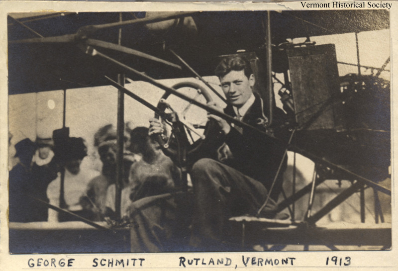 This picture of George Schmitt in his plane was taken a few days before he died in a plane crash.
