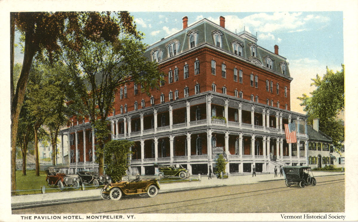 This postcard shows the Pavilion Hotel in the early 20th century. Did you know the Vermont History Museum is modeled after this building?