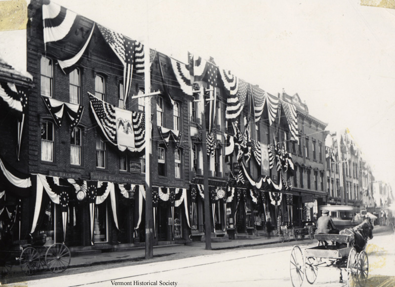 State Street in Montpelier decorated for Dewey Day, October 12, 1899. How do you celebrate heroes in your town?