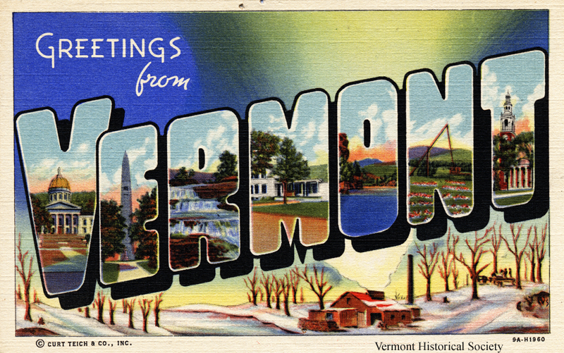 Do you recognize any of the scenes on this Vermont postcard?