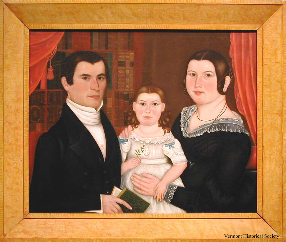 Painting of man, child and woman.